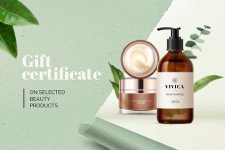 Ontwerpsjabloon van Gift Certificate van Jars with Beauty products