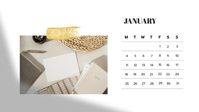 Stylish Business Workplace Calendar – шаблон для дизайну