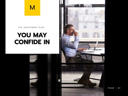 Business Agency Services Offer with Confident Businessman Presentation Design Template