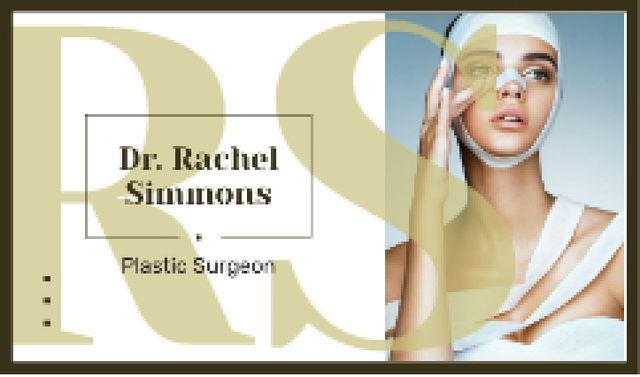 Woman at plastic surgery clinic Business card Design Template