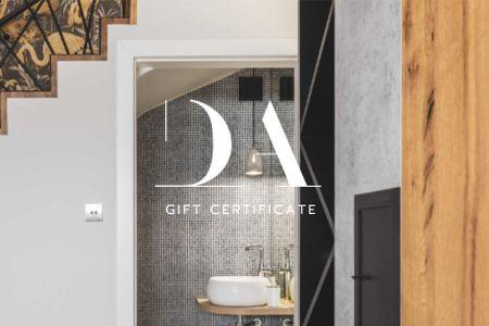 Ontwerpsjabloon van Gift Certificate van Design Studio offer with Bathroom interior