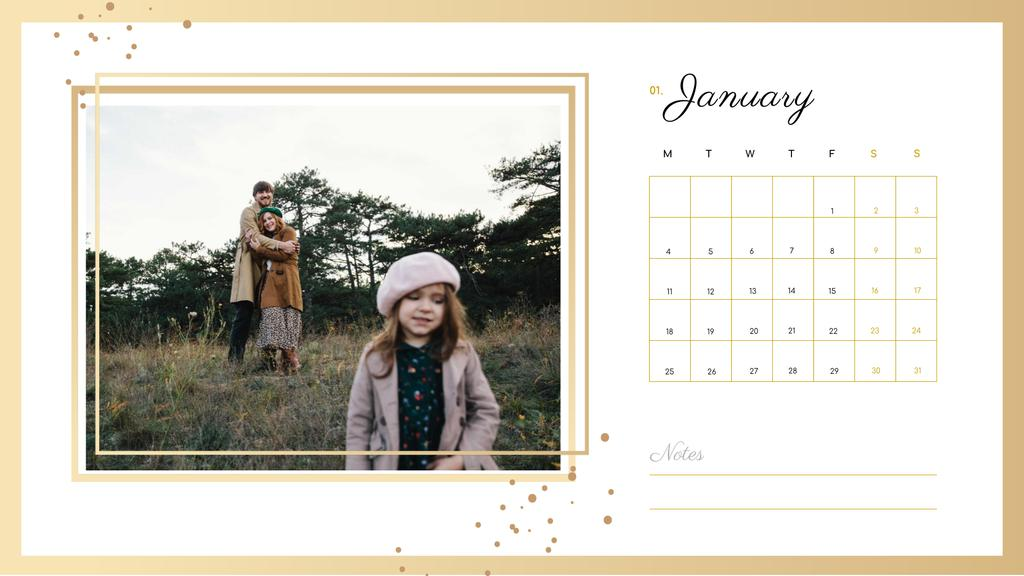 Family on a Walk with Daughter Calendar Design Template