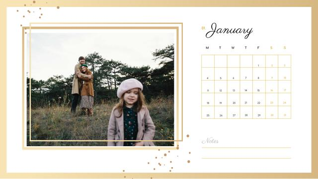 Family on a Walk with Daughter Calendar – шаблон для дизайну