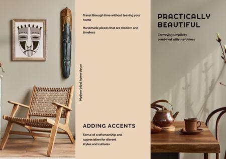 Ontwerpsjabloon van Brochure van Stylish Wooden Interior Decoration