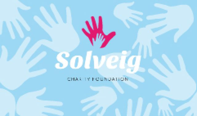 Ontwerpsjabloon van Business card van Charity Foundation Supporting with Hands Silhouettes