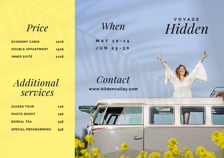 Travel Offer with Woman in Retro Bus Brochure Design Template