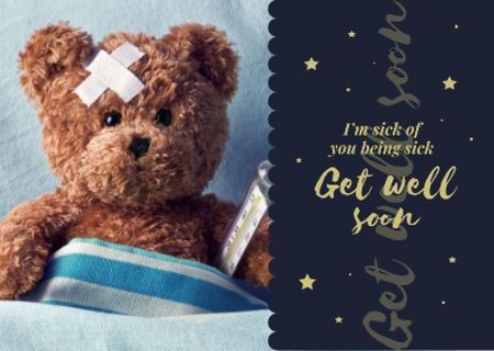 Ontwerpsjabloon van Postcard van Teddy bear with Thermometer and Patch