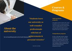 University Ad Brochure with Girl Student making notes by Laptop