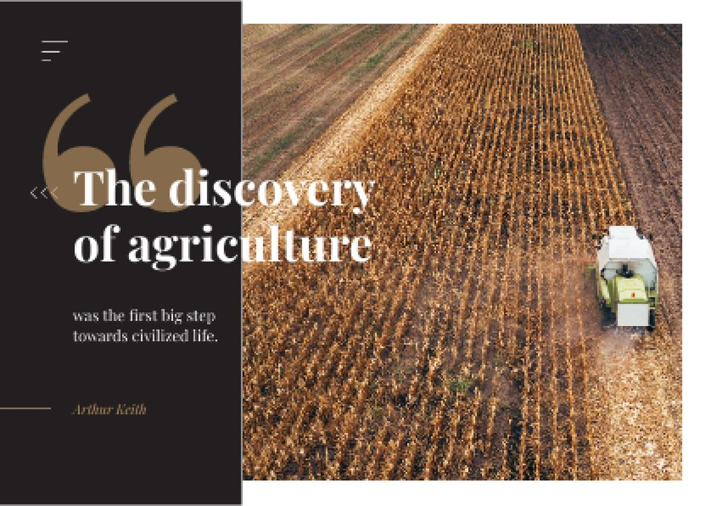 Tractor working in field with Quote Postcard Design Template