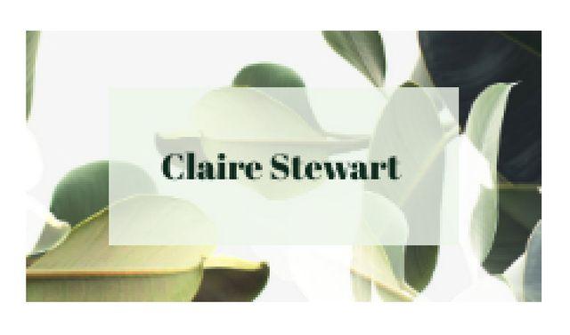 Plantilla de diseño de Green Plant Leaves Frame Business card
