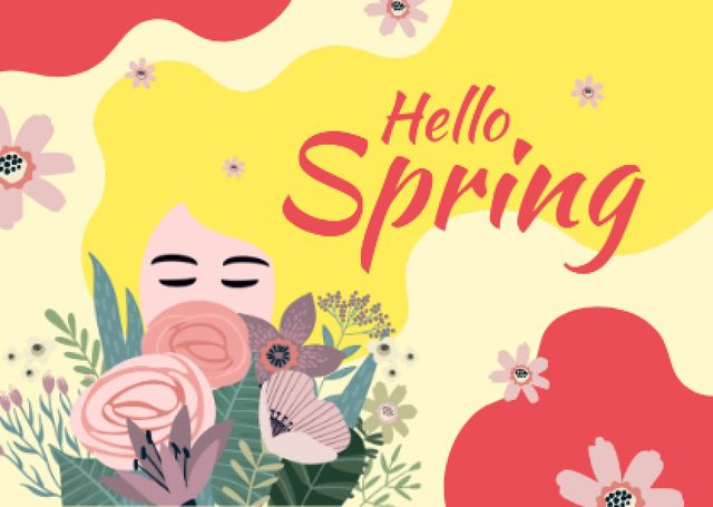 Plantilla de diseño de Dreamy girl with flowers Postcard