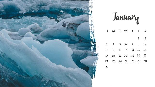 Scenic Wild Nature landscapes Calendar Design Template