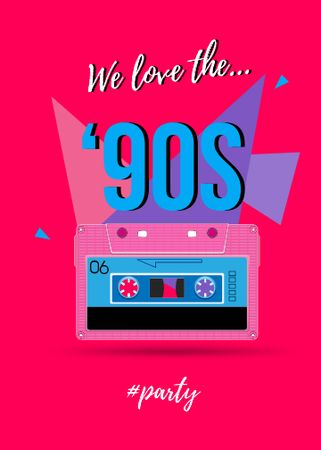 '90s Party announcement with cassette Flayer – шаблон для дизайну