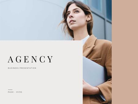 Professional Branding agency Ad with Businesswoman Presentation – шаблон для дизайна