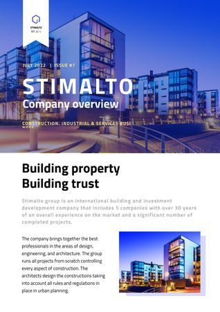 Building Company Overview in Blue Newsletter Modelo de Design