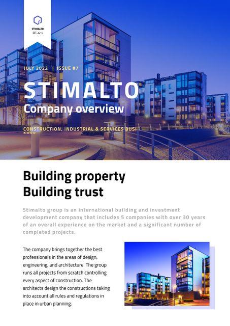 Plantilla de diseño de Building Company Overview in Blue Newsletter