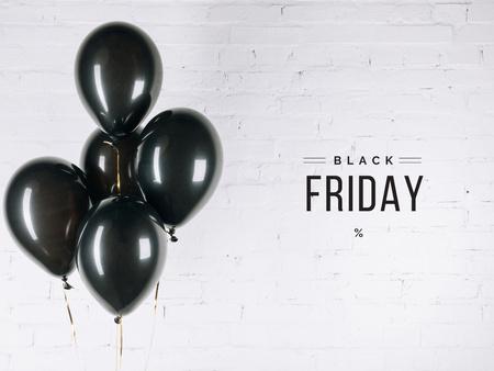 Black Friday Announcement with Black Balloons Presentation tervezősablon