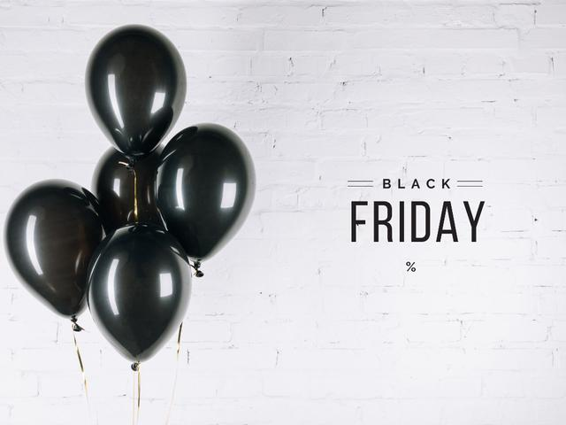 Black Friday Announcement with Black Balloons Presentation Design Template