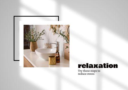 Ontwerpsjabloon van Brochure van Bathroom Accessories and Flowers in Vases
