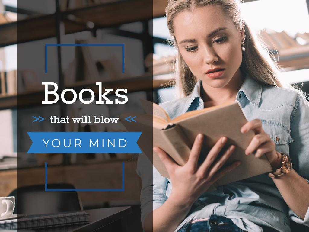 Books Inspiration with Woman Reading in Library Presentation Design Template