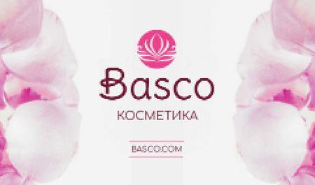 Cosmetics Ad with Pink Flower Petals Business card – шаблон для дизайна