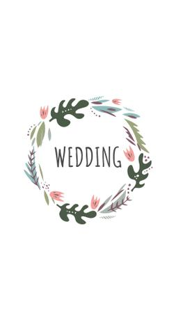 Wedding Day attributes and decor in floral frames Instagram Highlight Cover Tasarım Şablonu