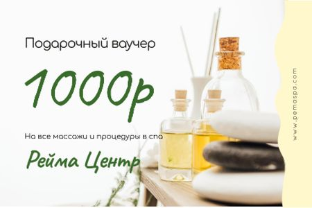 Spa Center Offer with Oils and Stones Gift Certificate – шаблон для дизайна