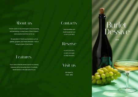 Ontwerpsjabloon van Brochure van Bottle of Wine with Grapes