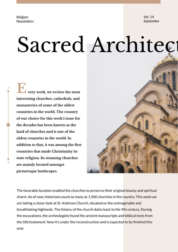 Sacred Architecture guide with Church facade Newsletter Design Template