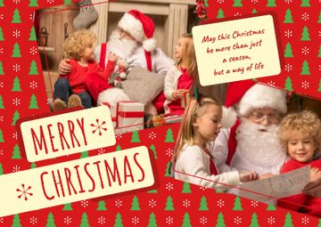 Merry Christmas Greeting with Kids and Santa