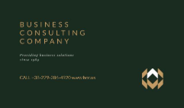 Minimalistic Logo on Green Background Business card Tasarım Şablonu