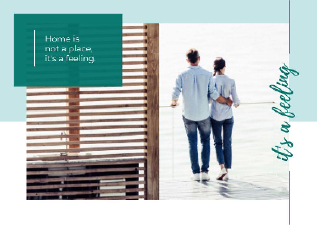 Couple hugging on balcony Postcard Design Template