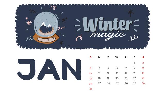 Winter Holidays decor and symbols Calendar – шаблон для дизайна