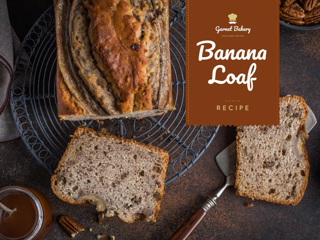 Bakery Ad with Banana Bread Loaf Presentation Design Template