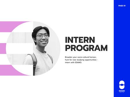 Modèle de visuel Intern Program Announcement with Smiling Man - Presentation