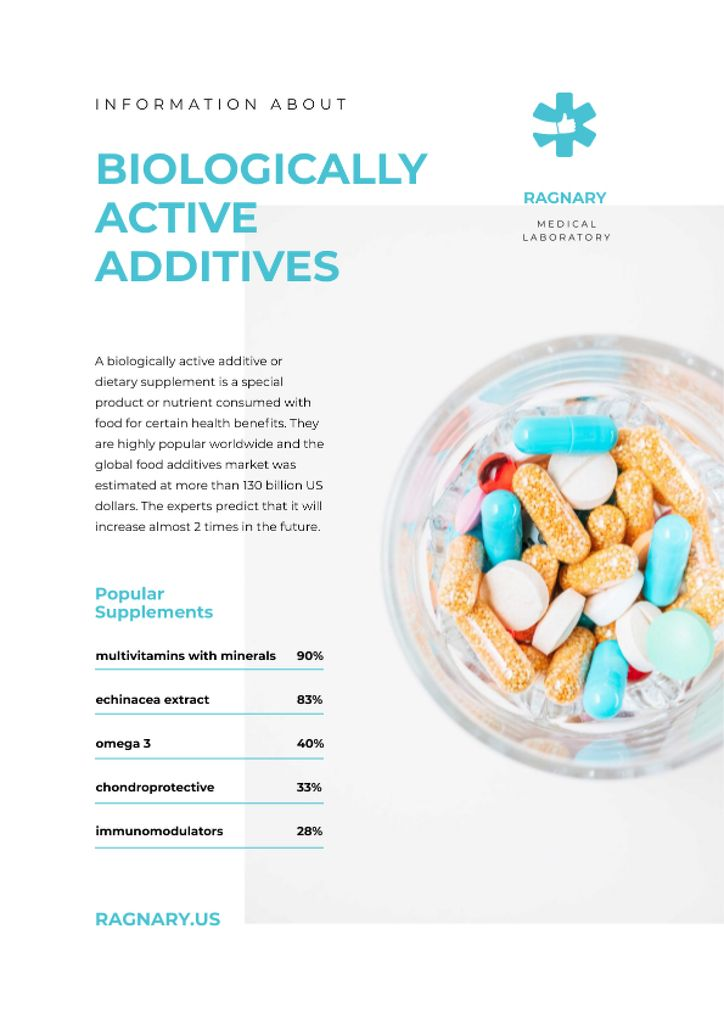 Biologically Active additives news with pills Newsletter Design Template