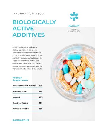 Biologically Active additives news with pills Newsletter Modelo de Design