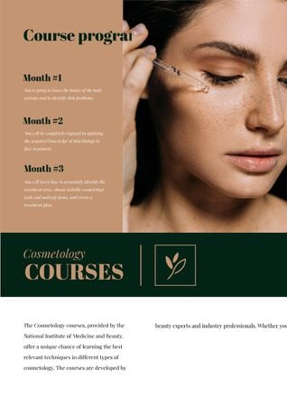 Cosmetology Courses Ad with Woman applying makeup Newsletter Tasarım Şablonu
