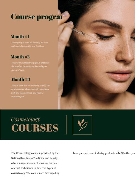 Cosmetology Courses Ad with Woman applying makeup Newsletter – шаблон для дизайну