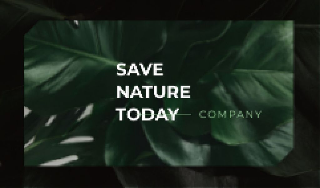 Template di design Eco Company with Green Plant Leaves Business card
