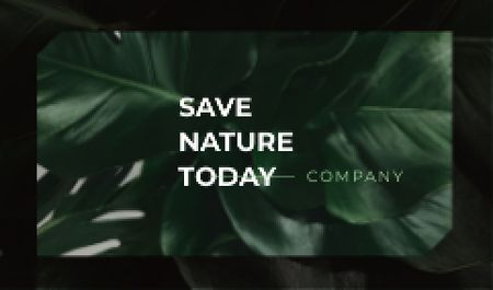 Eco Company with Green Plant Leaves Business cardデザインテンプレート