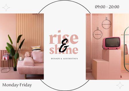 Platilla de diseño Interior Design Offer with Cozy Pink Vintage Room Brochure