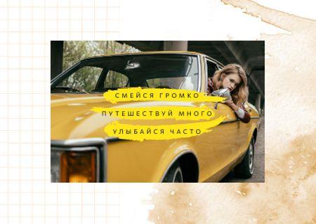 Woman travelling by car Postcard – шаблон для дизайна