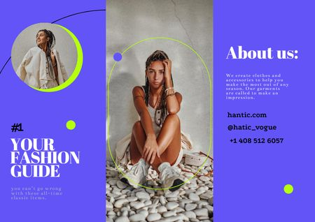 Fashion Ad with Young Woman in Stylish Outfit Brochure – шаблон для дизайна