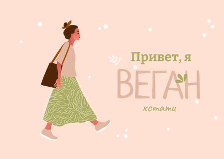 Vegan Lifestyle Concept with Stylish Woman Postcard – шаблон для дизайна