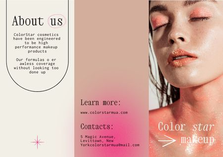 Beauty Services Offer with Woman in Bright Makeup Brochure Modelo de Design