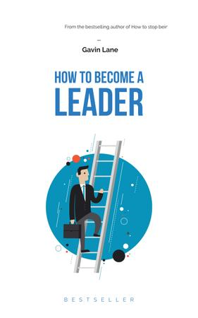 Ontwerpsjabloon van Book Cover van Businessman standing by ladder