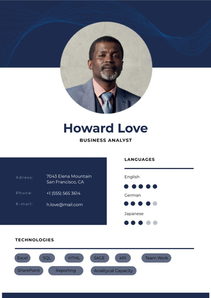 Business Analyst professional profile Resume – шаблон для дизайна