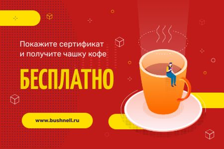 Discount Offer with Man on the Giant Coffee Cup Gift Certificate – шаблон для дизайна