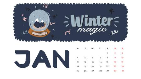Winter Holidays decor and symbols Calendar Design Template